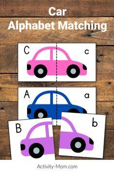 FREE Car Alphabet Matching Activity for Kids. Car Alphabet Match cards and ideas for how to use them. Alphabet Activities Kindergarten, Teaching The Alphabet, Toddler Learning Activities, Letter Activities, Learning Letters, Toddler Preschool, Fun Learning, Alphabet Cars, Alphabet For Toddlers