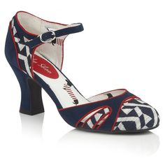 The new open waisted Jeraldine shoe on Ruby Shoo's classic Louis heel is a retro delight. Combining navy and white geometric jacquard with navy faux suede, fine red piping, and the cutest dachshund print lining, Ruby Shoo Jeraldine matches perfectly to bag style Cancun. Ruby Shoo, Court Shoes, Pumps, Heels, Navy And White, Fashion Bags, Mary Janes, Heeled Mules, Cancun