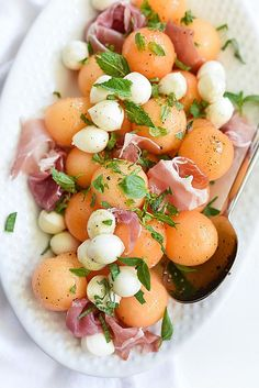 Cantaloupe and Mozzarella Caprese Salad | foodiecrush.com