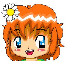 An old avatar I made of my character, Charlie. Tags: pixel, anime, manga, avatar, Charlie, orange hair, kawaii, male, flower, child, character, chibi