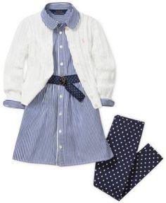 Ralph Lauren Girls' Cable Cardigan, Shirtdress & Polka-Dot Leggings