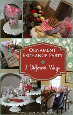 to Host a Holiday Ornament Exchange Party from Lindsay Wilkes of The C. Learn How to Host a Holiday Ornament Exchange Party from Lindsay Wilkes of The C.,Learn How to Host a Holiday Orname. Family Christmas, All Things Christmas, Christmas Holidays, Christmas Crafts, Christmas Decorations, Christmas Ideas, Christmas Manger, Christmas Goodies, Christmas Party Games