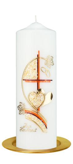 39,90€Die Hochzeitskerze Nr. 206 ist verziert mit einem orangenfarbenem Kreuz und goldenen Herzen. Die Kerze vom Markenhersteller Kopschitz hat eine Abmessung (H/DM) von 250/80 mm.    Im Preis ist die Kerze samt Verzierung und Ihrer individuellen Beschriftung mit Vornamen und Datum (z.B. Claudia & Martin 20.07.2013) enthalten.