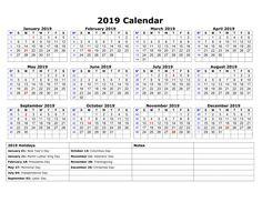 Blank Printable Calendar 2019 With Holidays Printableshelter