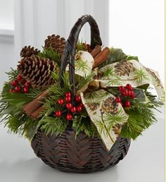 bouquets without flowers for Christmas | Photograph of Christmas Coziness Bouquet in brown basket flowers