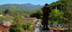 Sylva, North Carolina. View of downtown Sylva from the Courthouse stairs.