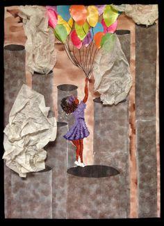 """Floating Away"" Anitianna Terrell Mixed Media Mixed Media, Creative, Artist, Painting, Artists, Paintings, Draw, Mixed Media Art, Drawings"