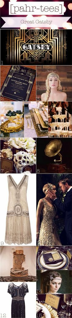 Moodboard Great Gatsby Theme Party || pahr-tees.blogspot.com