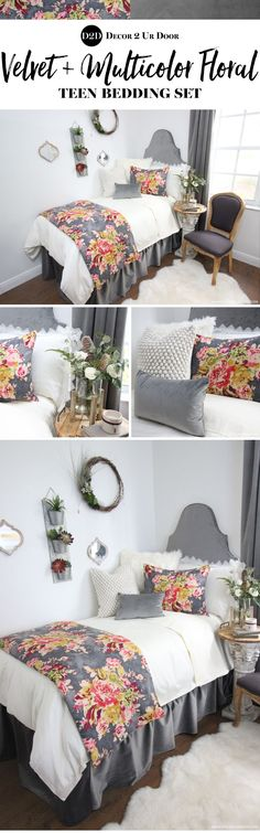 This multi-color floral print features grey, pink, red, green, and yellow/ivory hues. This set has to be one of our all time dorm room bedding favorites. Trending this year: velvets and florals. Why not combine two into one set? Dorm Room Headboards, Dorm Room Bedding, Dorm Rooms, Boho Bedding, Kids Rooms, Preppy Dorm Room, Boho Dorm Room, Teen Bedding Sets, Grey Bedroom With Pop Of Color