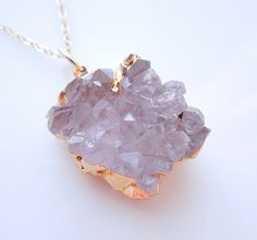 Druzy Quartz Necklace in Clear Lavender OOAK by 443Jewelry -Etsy