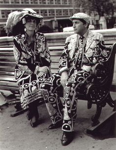 """Pearly King and Queen.Today's Pearlies are dedicated charity workers who are continually assisting with fund raising activities for a multitude of different organisations. The Pearly motto is """"One Never Knows""""."""