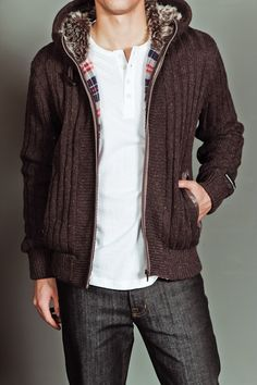 Premium Lounge Fur Lined Knit Sweater Coffee $59.99