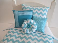 American Girl Doll Bedding Aqua And White Chevron