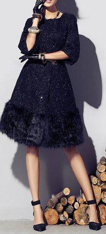 LUXE BLACK WOOLEN FAUX FUR LONG COAT   The Style Mob
