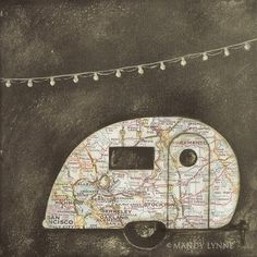 """""""Vintage airstream art print"""" There's no limit to what you could do by cutting old maps into shapes. Airstream Vintage, Vintage Travel Trailers, Vintage Campers, Camping Vintage, Map Crafts, Art Carte, Old Maps, Marianne Design, Happy Campers"""