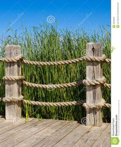 Rope Banister Wooden Post Railing 43646334 10671300 Pixels within sizing 1067 X 1300 Rope Fence Ideas - Both fences are extremely durable with higher life Seaside Garden, Coastal Gardens, Beach Gardens, Rope Fence, Diy Fence, Fence Ideas, Deck Railings, Banisters, Pergola