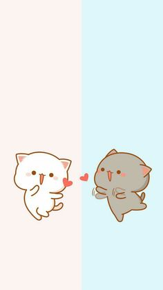 the yellow is anglina jolie and gray is brad pitt beautiful couple Wallpaper Gatos, Cat Wallpaper, Kawaii Wallpaper, Disney Wallpaper, Chibi Cat, Cute Chibi, Cute Cartoon Images, Cute Cartoon Wallpapers, Cute Wallpaper Backgrounds