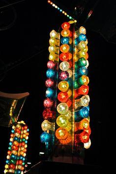 Carnival lights at night.