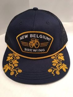 411899f2dd5 New Belgium Brewing Colorado Bicycle Blue Gold SnapBack Mesh Trucker Hat Cap  (take out gold piping between brim and face)