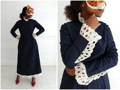 Vintage 1970's Navy Blue Midi Dress with Oversized Lace Collar and Cuffs By Joan Leslie | Small by AnimalHeadVintage on Etsy