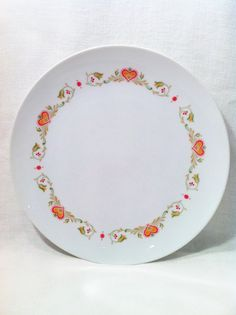 Vintage Noritake dinner plate with red pink heart by Comforte, $9.00