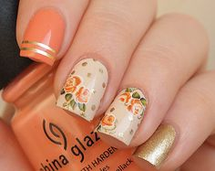 Rusty orange roses nail decals/ Orange rose stickers/ Nail water decals/ Nail stickers/ Floral nail decorations/ Nail art supplies/art. 499