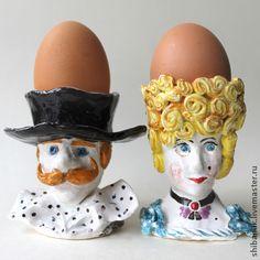 """Подставки для яиц керамические """"Дама и кавалер"""". Handmade. #easter"""