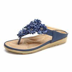 Comfortable Flower Clip Toe Beach Flat Slippers