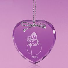 A clear, heart-shaped glass ornament with faceted edges. Custom Christmas Ornaments, Glass Ornaments, Christmas Bulbs, Heart Shapes, Lebanon, Holiday Decor, Christmas Light Bulbs