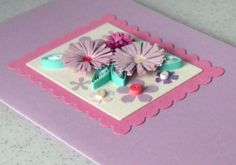 Quilled birthday card, quilled flowers, handmade, paper quilling. £5.00, via Etsy.