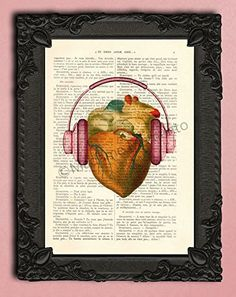human heart headphones artwork, I love music poster dictionary art, the beat of my heart, heartbeat illustration on antique paper, dj gifts. Each illustration is printed on a beautiful antique book page from a French magazine called La Petite Illustration from around 1910. Please keep in mind that you will not get the exact same page as shown in the image, but you will get a similar antique book page from the same magazine. Each print is unique. You definitely have something to talk about...