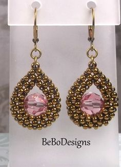Swarovski Light Rose Crystal Teardrop Bead Woven Earrings/Seed Bead Earrings/Cubic Right Angle Weave Earrings by BeBoDesigns on Etsy Beaded Earrings Patterns, Beaded Jewelry Designs, Seed Bead Jewelry, Seed Bead Earrings, Handmade Jewelry, Beaded Bracelets, Earring Tutorial, Light Rose, Beads And Wire