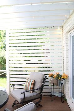 This slatted wall is a terrific way to add a little privacy and a lot of style to a patio or deck. Courtney Clymer of Lifestyled Atlanta styled this backyard deck makeover with a pergola, new patio furniture and cool outdoor lighting. See it on The Home Depot Blog. || @lifestyledatl