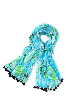Lilly Pulitzer Murfee Scarf in Spa Blue Let's Cha Cha