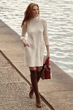 Boiled Wool Mock-Neck Dress - anthropologie.com