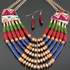 SHOPPING FOR TRIBAL BEADS IN AFRICA | Tribal Fabric & Beads Layered Necklace Set PNE10013-N3732 - $8.99 ...