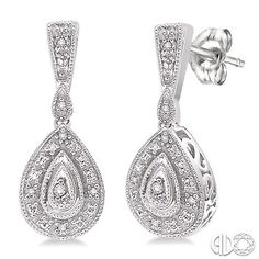 Pear shape diamond drop earrings set in sterling silver.