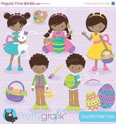 80 OFF SALE easter kids clipart commercial by Prettygrafikdesign, #eaterclipart