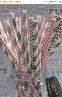 XOXO SALE 100 Gold and Blush Pink Party Straws in Stripes and Chevron - Wedding Straws with Printable DIY Flag Template - 50 ea. design