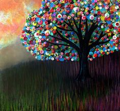Button Tree - Painted background with buttons used as leaves etc on a canvas (craft idea)