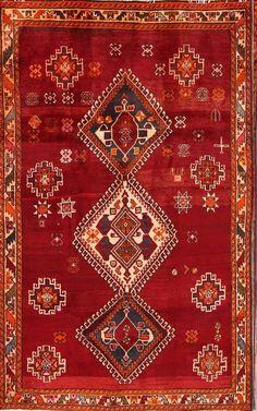 Geometric Tribal Red 5x8 Gabbeh Shiraz Persian Oriental Area Rug 7 039 8