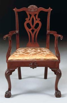 THE STEVENSON FAMILY CHIPPENDALE CARVED MAHOGANY ARMCHAIR   PHILADELPHIA, Circa 1770   40 7/8 in. high