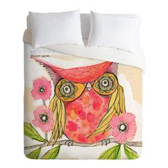 Cori Dantini Miss Goldie King Duvet Cover - Get ready for fun, all you night owls. With its bright colors and perky images custom-printed on...