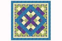 My king size bed quilt pattern is easy to sew. The quilt is designed with squares set into a symmetrical design and surrounded by patchwork setting triangles.