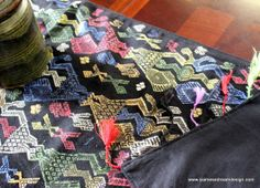 Colorful  Ethnic Table Runner In Laos Woven by SiameseDreamDesign, #Laos #Eclectic #ethnic textiles