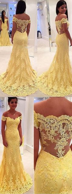 2016 mermaid long lace prom dress off-the-shoulder long sleeves prom dress yellow prom dress party dress