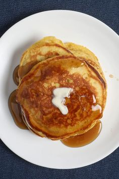 Pumpkin butter adds a sweet and spicy flavor to these classic buttermilk pancakes, and a boost of moisture. Cooking them over moderately low heat ensures each pancake cooks through, and gets a perfect golden color with lightly crispy bite. Serve with extra pumpkin butter, or melted butter and drizzles of maple syrup.#pumpkinrecipes #pumpkindishes  #dessertrecipes #dessertideas #dessertdishes #sweettreats Best Brunch Recipes, Fall Recipes, Wine Recipes, Whole Food Recipes, Breakfast Recipes, Brunch Dishes, Dessert Dishes, Dessert Recipes, Pumpkin Dishes