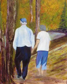 "Laine's Riverside Art. ""Still Holding Hands"". 16"" x 20"" canvas In Private Collection"