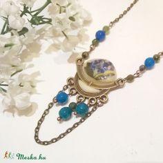 Kék achát köves virágos nyaklánc , Ékszer, óra, Esküvő, Ruha, divat, cipő, Nyaklánc, Meska