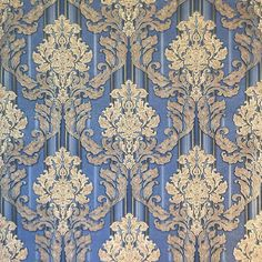 8102-03 Blue Gold Duplex Damask Wallpaper